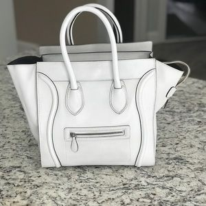 White Celine luggage handbag